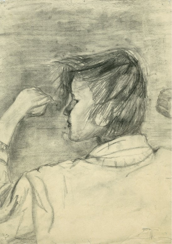 Realistic portrait charcoal drawing