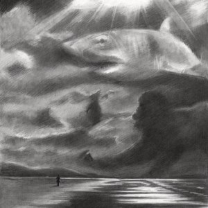 Surrealist landscape graphite pencil drawing