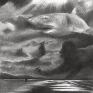 Surrealist landscape graphite pencil drawing