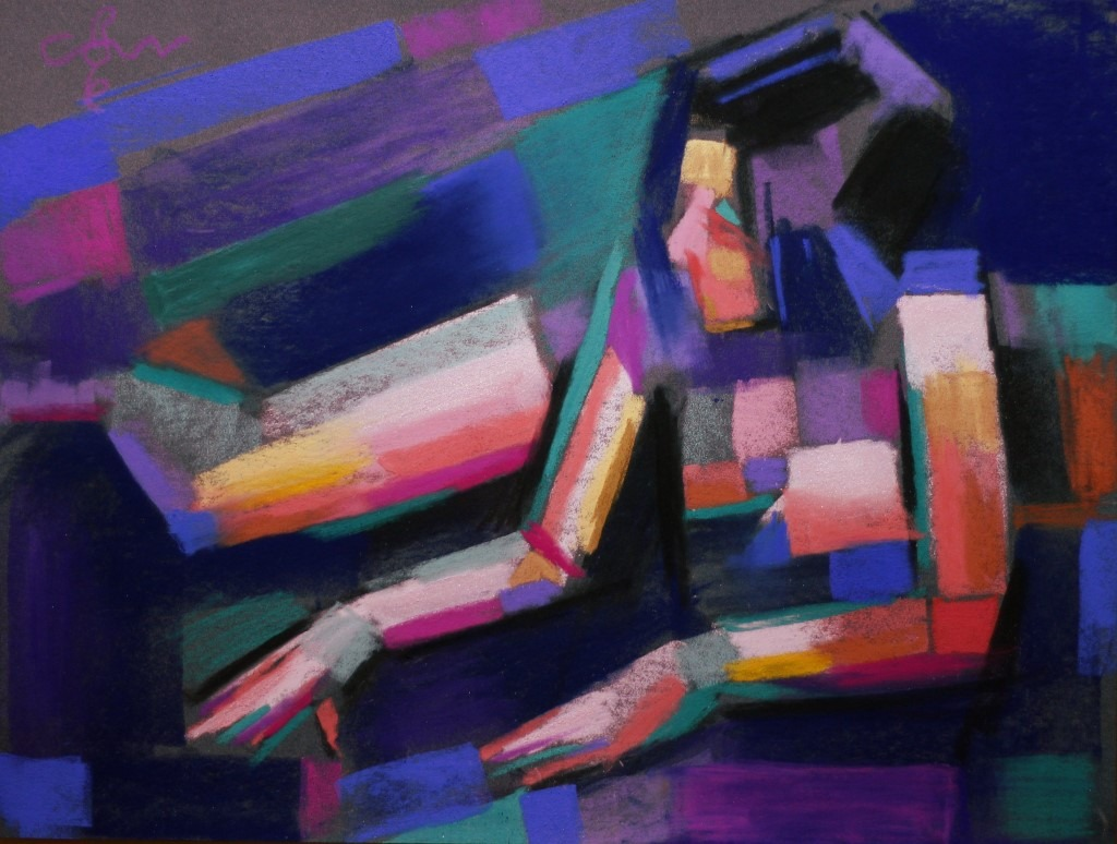 cubistic nude pastel dawing