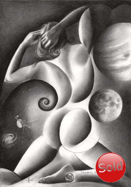 surrealist nude graphit pencil drawing promotion
