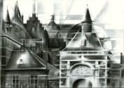 cubistic urban graphite pencil drawing thumbnail
