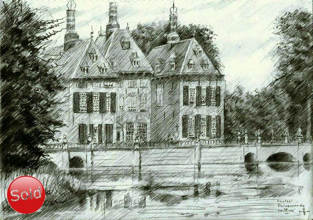 impressionist castle graphite pencil drawing promotion