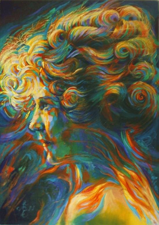 cubistic portrait oil painting of Mary Pickford