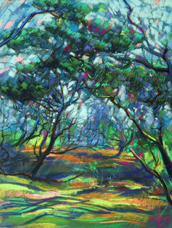 cubist treescape pastel drawing