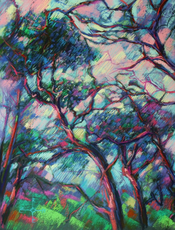 expressionistic treescape pastel drawing