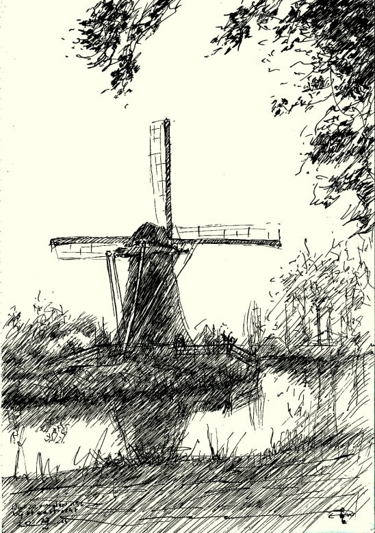 impressionistic mill pen drawing
