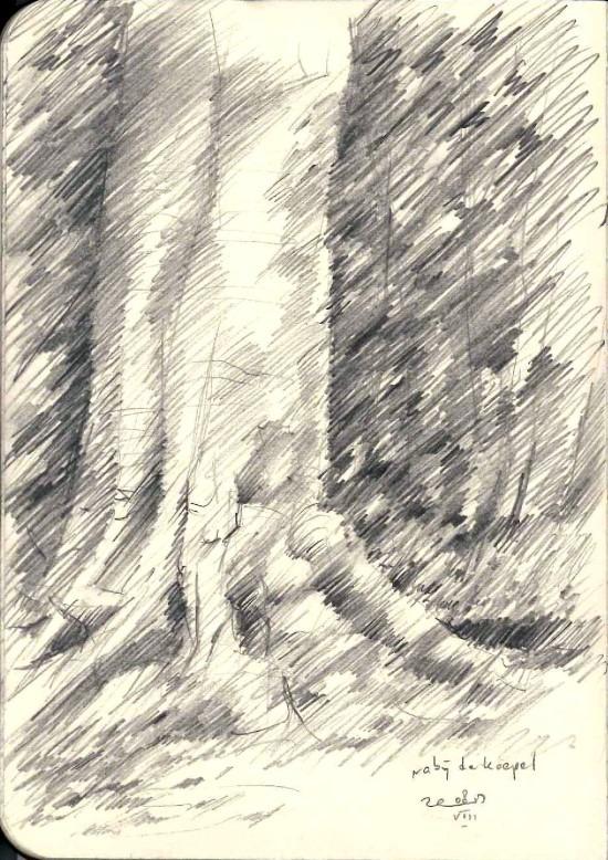 impressionistic treescape graphite pencil sketch thumbnail