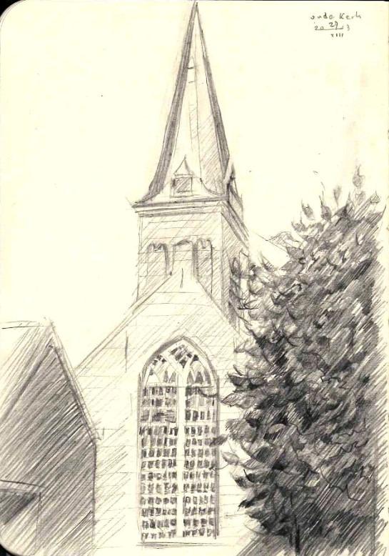 impressionistic church graphite pencil drawing
