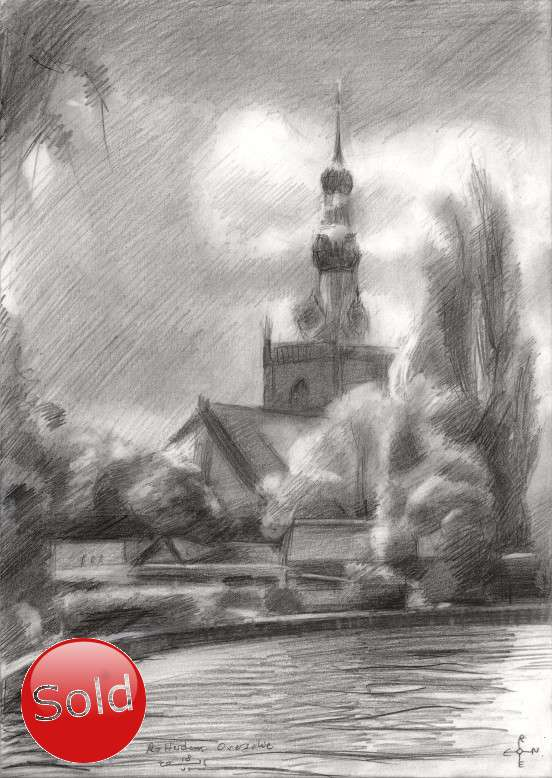 impressionist urban graphite pencil drawing promotion