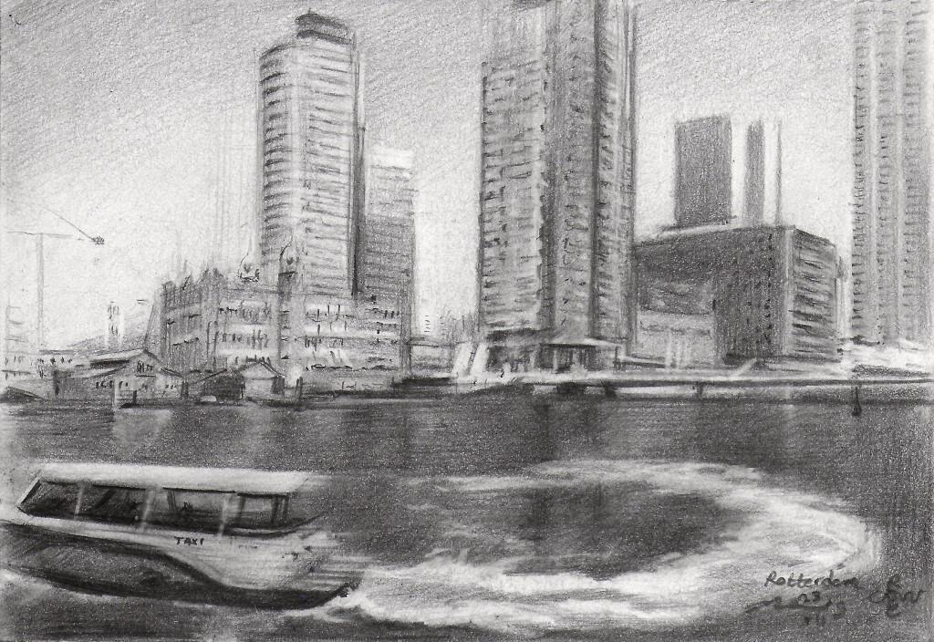 impressionistic cityscape graphite pencil drawing of Rotterdam