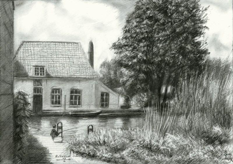 Impressionistic landscape grapite pencil drawing
