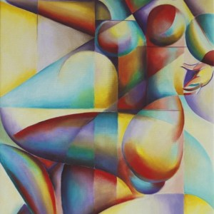 cubistic nude oil painting