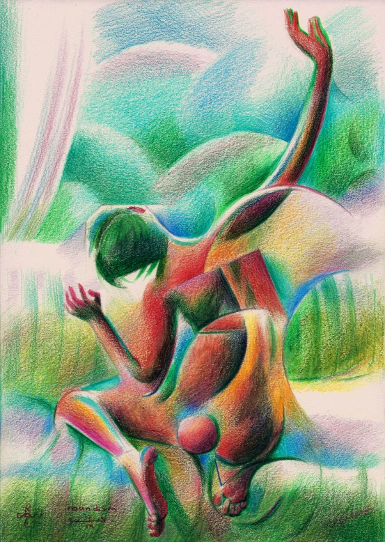 Cubistic nude colred pencil drawing
