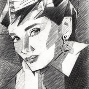 cubistic portrait graphite pencil drawing of audrey hepburn