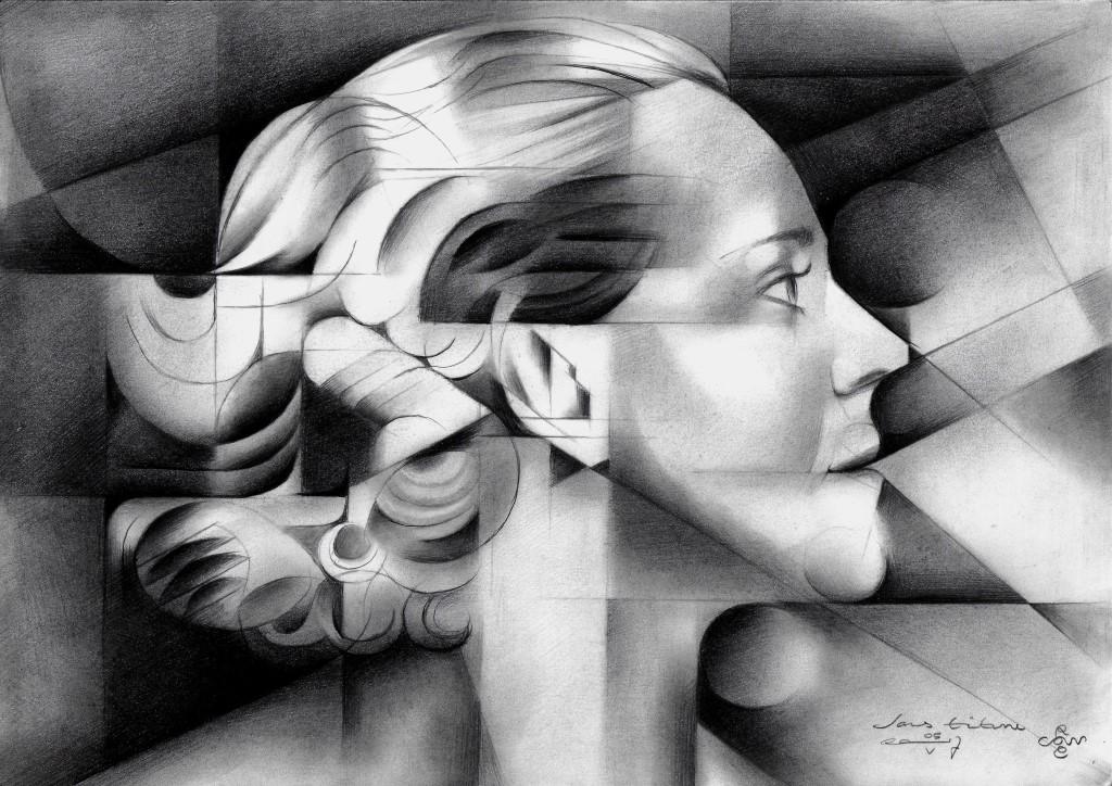 Cubistic portrait graphite pencil drawing of Darja Collin