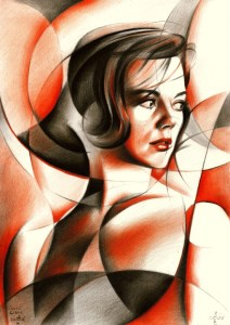 Cubistic natalie wood colored pencil drawing
