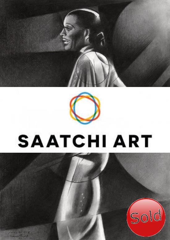 Cubistic portrait of Diana Ross graphite pencil drawing advertisement