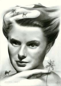 Surrealistic portrait graphite pencil drawing of Ingrid Bergman