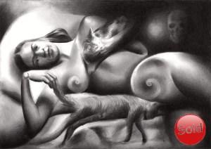 Surrealistic Frida Kahlo nude graphite pencil drawing