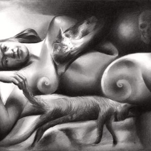 Surrealistic nude graphite pencil drawing of Frida Kahlo