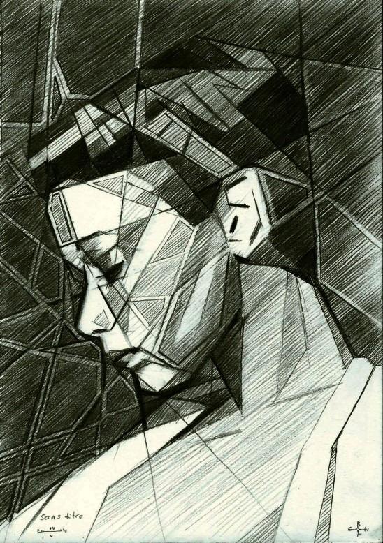 cubistic portrait graphite pencil drawing of Sylvia Kristel