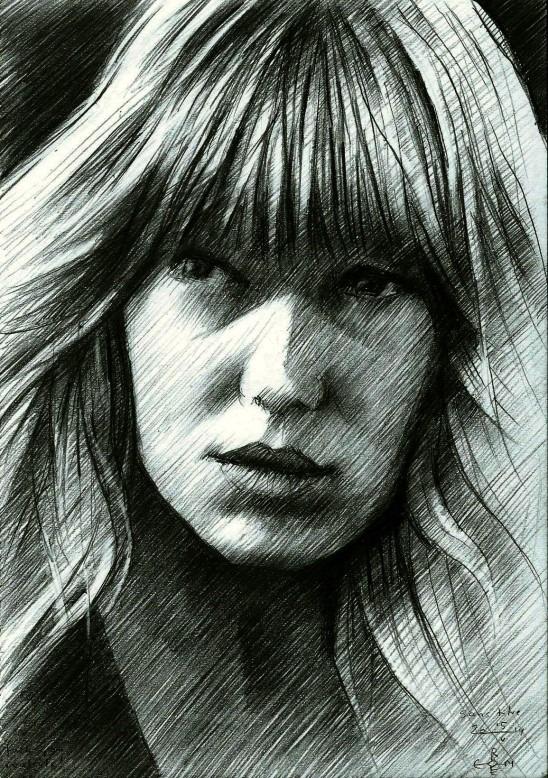 impressionistic portrait graphite pencil drawing of Lea Seydoux
