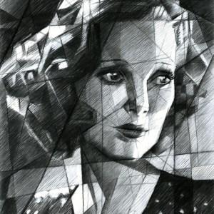 Cubistic portrait graphite pencil drawing of Loretta Young