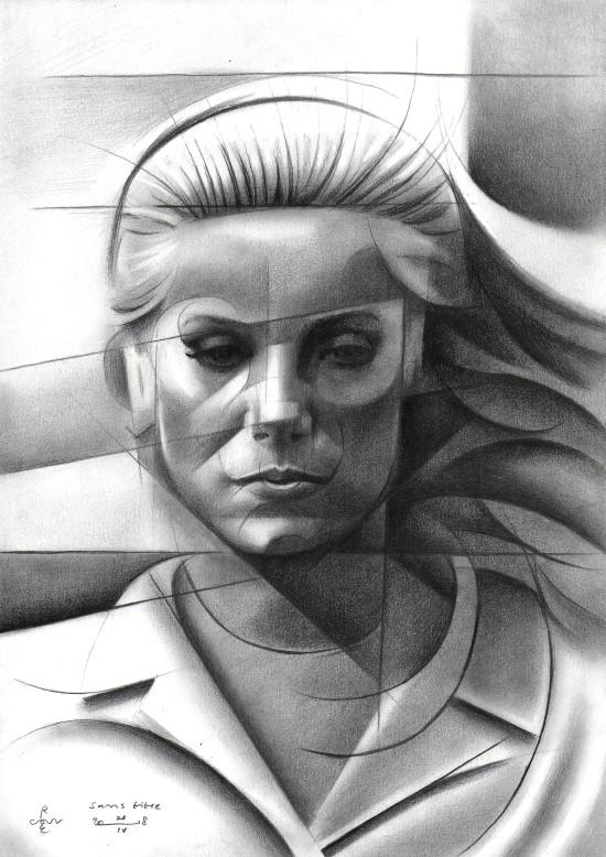 Cubistic portrait graphite pencil drawing of Catherine Deneuve
