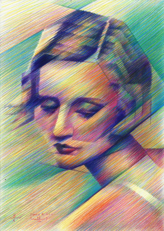 Cubistic portrait colored pencil drawing of Tallulah Bankhead