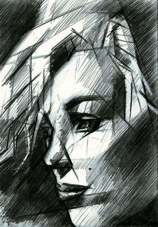 cubistic portrait graphite pencil drawing of Marilyn Monroe
