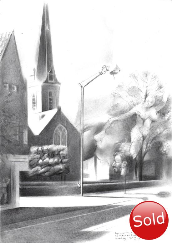 surrealistic church graphite pencil drawing