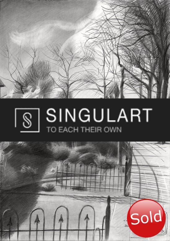 Realistic landscape graphite pencil drawing advertisement