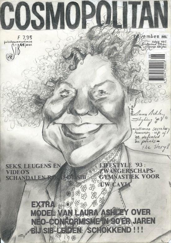 Caricature graphite pencil drawing