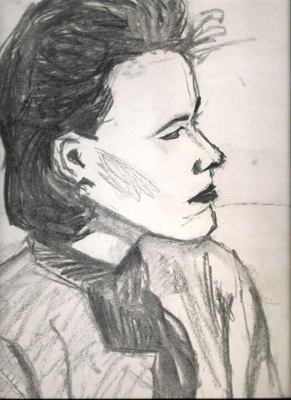 Realistic charcoal portrait sketch