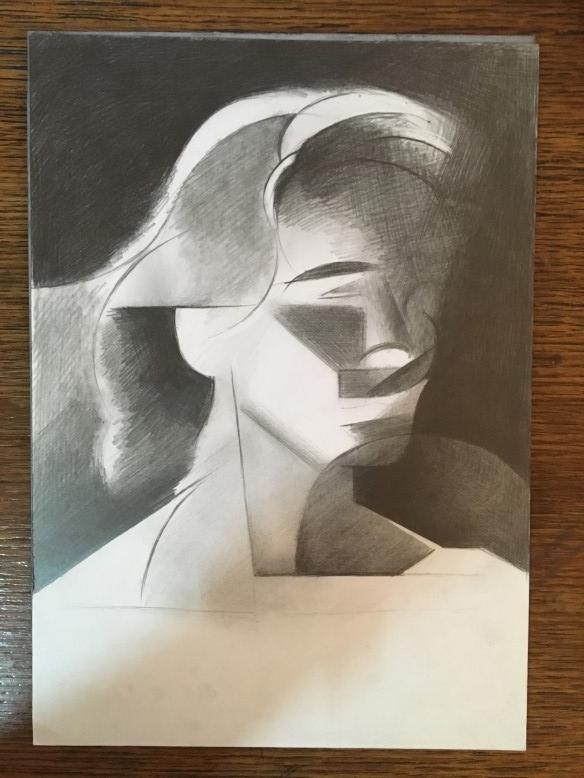 Work in progress on graphite pencil drawing Bente