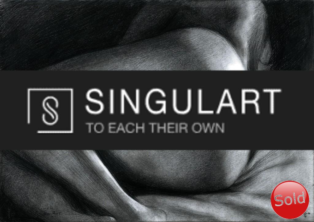 Erotic nude graphite pencil drawing advertisement