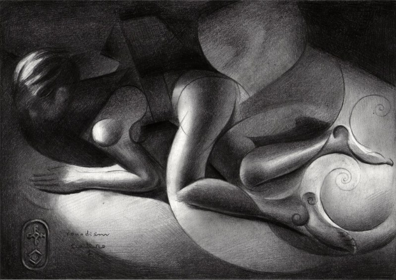 cubistic nude nude graphite pencil drawing