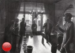 impressionistic group of people graphite pencil drawing thumbnail