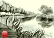 Surrealistic landscape graphite pencil drawing thumbnail