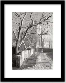 cubist cityscape graphite pencil drawing framing example