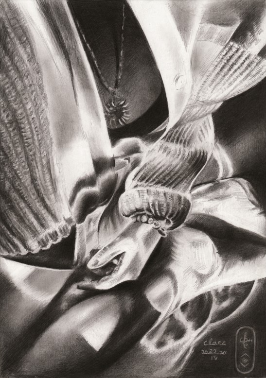 surrealist graphite pencil drawing of a woman