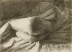 Impressionistic nude charcoal drawing thumbnail