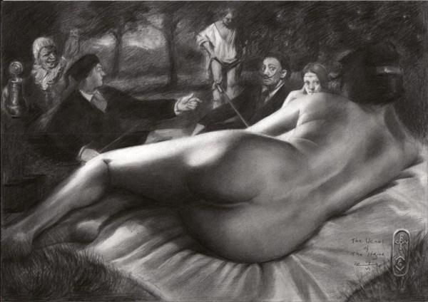Surrealistic nude graphite pencil drawing with Malle Babbe, dejeuner sur l'herbe, rembrandt, la belle ferroniere and salvador dali