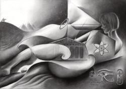 Surrealist graphite pencil drawing thumbnail