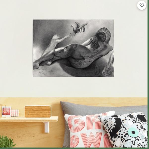 surrealist nude graphite pencil drawing photographic print mockup