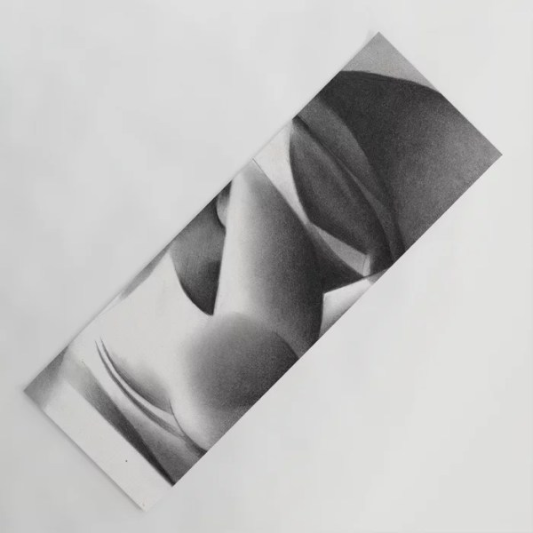 cubist nude graphite pencil drawing yoga mat