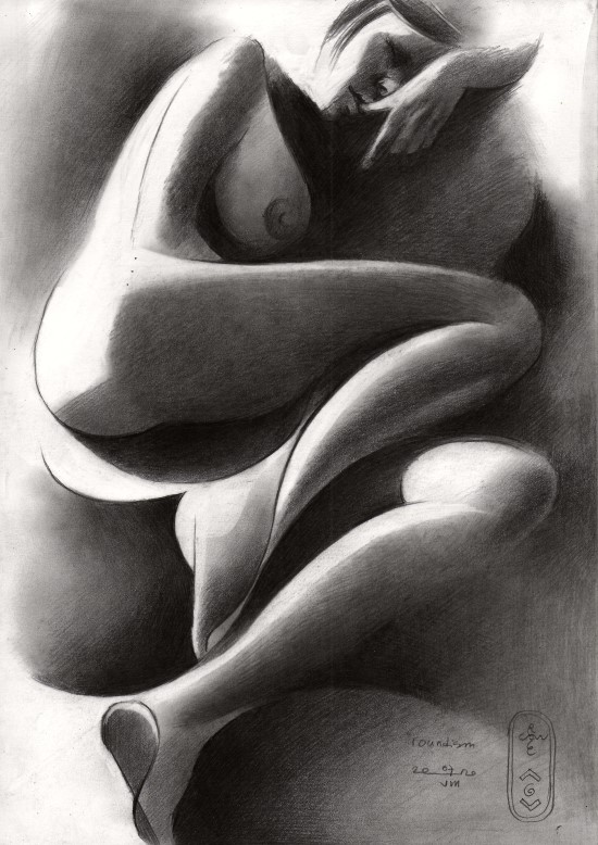cubistic nude graphite pencil drawing in my roundism series
