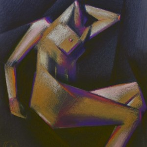 cubistic nude colored pencil drawing
