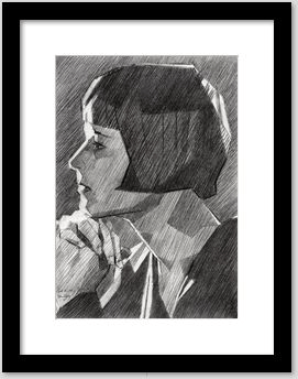 framing example of a cubist graphite pencil drawing
